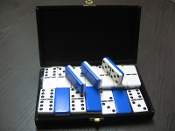 2 TONE BLUE/WHITE DOUBLE SIX, WITH SPINNERS, TOURNAMENT SIZE